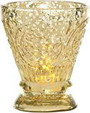 Luna Bazaar Candle Holder (4-Inch, Fluted Design, Gold Mercury Glass) - For Home Decor and Wedding Decorations - For Use with Tea Light Candles