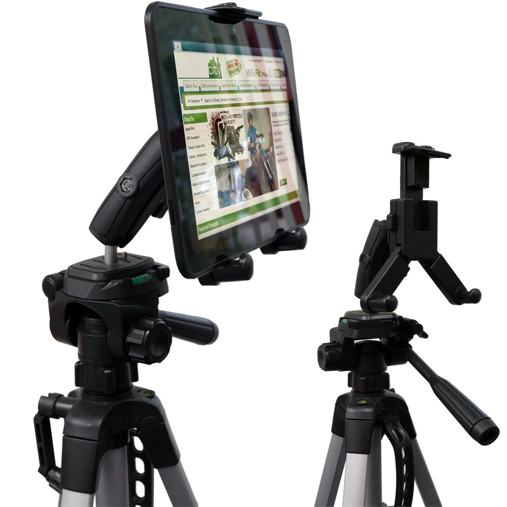 "ChargerCity® HDX-2 Tablet Selfie Video Camera Recording Tripod Adapter Mount w/Dual 360° Swivel Adjustment Joint & Universal Tablet holder for 7"" 8"" 10"" 12"" (7""-12"" .."