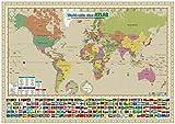 お風呂で貼れる世界地図!「英語表記のグリニッジ中心版」