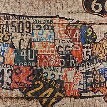 """LINKWELL 18""""x18"""" Vintage American Map USA Route 66 Burlap Cushion Covers Pillow Case"""