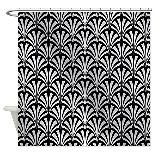 CafePress - Elegant Black And Silver Art Deco - Decorative Fabric Shower Curtain (Art Deco Shower Curtain compare prices)