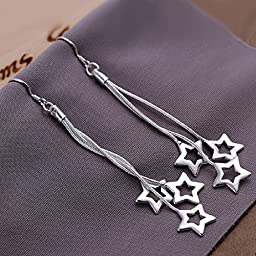 Elegant Fashion Jewelry 925 Silver Plated Stud Dangle Earings Eardrop Three Long Wire Stars