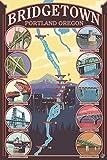 Bridges of Portland, Oregon (9x12 Art Print, Wall Decor Travel Poster)