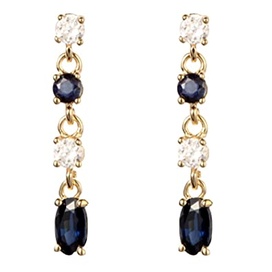 9ct yellow gold sapphire & white cubic zirconia drop earring