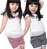 子供服 涼感 リボン付 レース ブラウス と チェック パンツ スカンツ の セット (80センチ, 赤) ランキングお取り寄せ