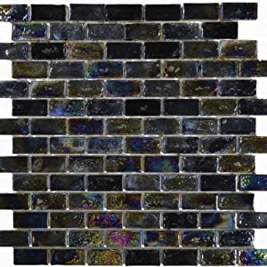 Pewter Black Textured Iridescent Glass Tile Blend 1 U0026quot  X 2