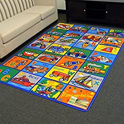 Alphabets Transportation Design Kids Area Rug