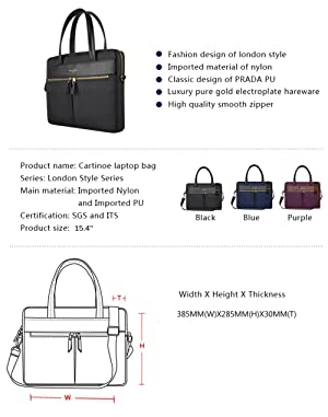 YIYINOE Luxury Ultrathin Laptop Bag for 14 15 inch MacBook Ultrabook,Special Business Briefcase for Women,Sleek Fabric,Metallic Zipper,Black (Color: Shoulder Bag Black, Tamaño: 15 inch)