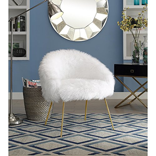 Inspired Home Ana White Fur Accent Chair - Metal Legs | Upholstered | Living Room, Entryway, Bedroom