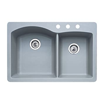 Blanco 440214-3 Diamond 3-Hole Double-Basin Drop-In or Undermount Granite Kitchen Sink, Metallic Grey