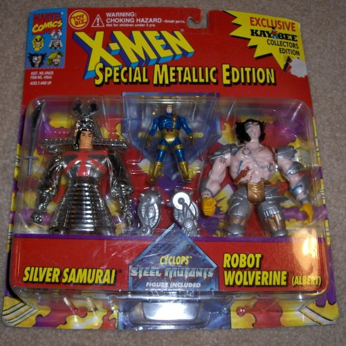 X Men Special Metallic Edition Silver Samurai and Robot Wolverine with Cyclops Steel Mutants - 1