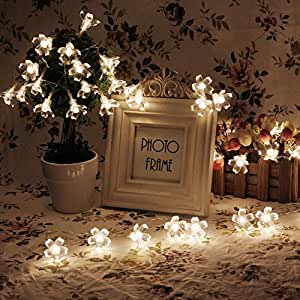 Amazon.com: Battery Operated String Lights LED Sakura Fairy Light Flower for Bedroom and Indoor ...