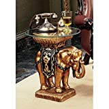 Design Toscano Maharajah Elephant Glass-Topped Sculptural Table (Color: Two Tone Black and Gold)