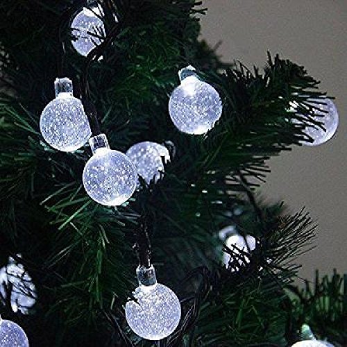 Solar Globe String Lights 30 Led White Crystal Ball Patio Lights (Gecko Door Handles compare prices)