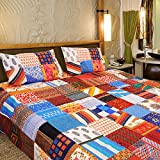 SNEHKRITI 100% Cotton 144 Patch Traditional Jaipuri Bedcover with two pillow covers