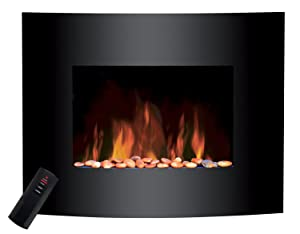 Sentik Large 2kW Black Glass Screen Wall Mounted Electric Fire Fireplace       reviews
