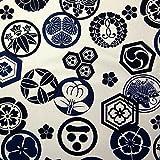 【綿11号帆布(はんぷ)プリント】家紋 4色あります 1m単位で切り売りいたします (アイボリー系)