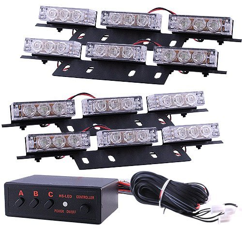 Auto Led Strobe Warning Lighting Kit 12Volt Variety Flashing Options (Blue)
