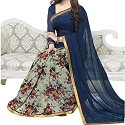 Pramukh saris Womens Georgette Printed Sari(Blue)