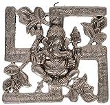 Stylla Shoppers Antique White Metal Swastik Ganesha Hanging