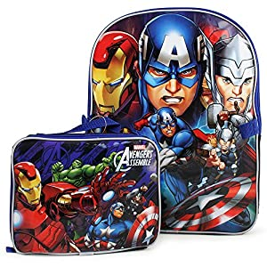 """Avengers 16"""" Backpack Bag with Detachable Lunch Kit Box - Features Iron Man, Captain America , Hulk & Thor by avengers"""