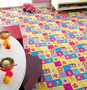 childrens bedroom rugs butterfly kids pink yellow mats 80x120cms