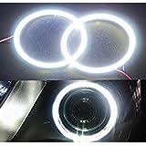 Grandview GrandviewTM Super Bright 2 x 90mm 66SMD Led Chips Angel Eyes Halo Ring Lamp Light Bulb Headlight COB-White