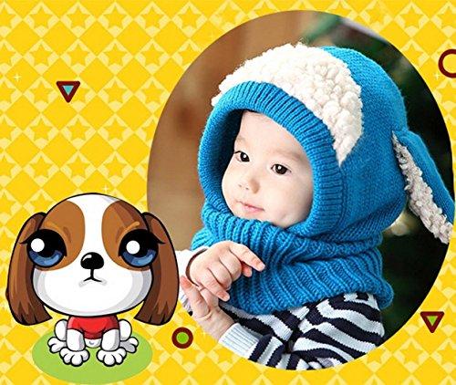 Crazy Genie Unisex-baby Toddler Winter Beanie Warm Hat Hooded Scarf Earflap Knitted Cap Girls Boys (Blue)