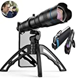 Aokin 36x HD Cell Phone Camera Lens, 24x to 36x Telephoto Zoom Lens Dual Focus HD 4K, Free UV Lens Detachable Clamps Strong Tripod Portable Package for iPhone XR,XS MAX,XS,X,8,7,6,6s Plus Smartphone (Color: Black)