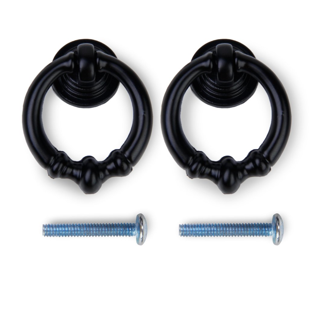 2pcs Vintage Cabinet Drawer Dresser Cupboard Pull Handle Knob--Matte Black 0
