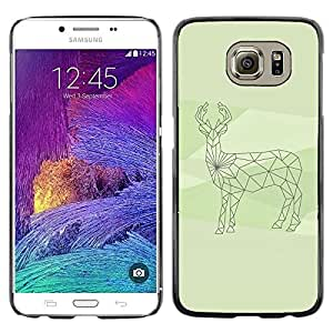 Omega Covers - Snap on Hard Back Case Cover Shell FOR Samsung Galaxy S6 - Finland Arctic Deer Antler Green