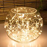 Rope Lights, Oak Leaf 9.8ft/3M 60LEDs Mini Decorative Indoor Christmas Party String Lights Starry Silver Wire Lights for Wedding Bedroom Holiday Pub Club,Time Setting,3xAA Batteries Powered