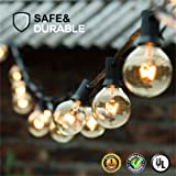 Guddl Globe String Lights with 27 Clear G40 Bulbs, Connectable Outdoor/Indoor Lights for Wedding Party Camping RV Garden Patio Gazebo Porch Pergola Bistro Backyard Balcony Deck, 25ft Black Wire (Color: Warm White, Tamaño: 1 Pack)