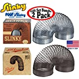 POOF-Slinky Original Metal Retro Collector's Editions Black & Silver Gift Set Bundle - 2 Pack