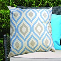 Blue & Grey Geometric Design Water Resistant Outdoor Filled Cushion for Cane/Garden Furniture by Gardenista