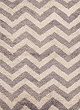 Jaipurrugs Handmade Textured Wool Gray/Ivory Subin Rectangle Shag Border Color White 5X8