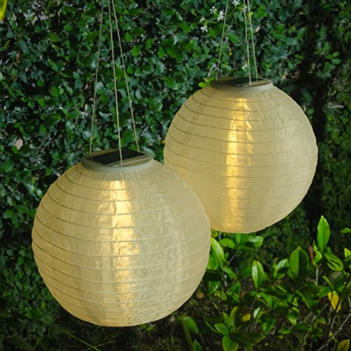 "2 Pack Of 12"" Round Oriental Solar Lanterns With Triple Led - White"