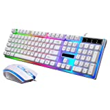 Joint LED Rainbow Color Backlit Adjustable USB Wired Gaming Keyboard and Mouse Set (White)