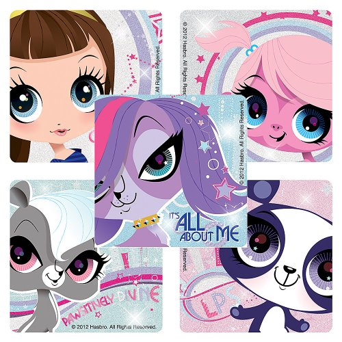 Littlest Pet Shop Glitter Stickers - Party Favors - 50 per Pack