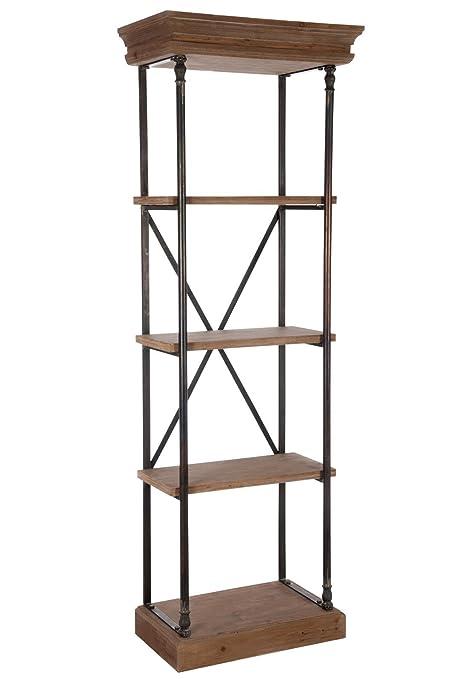 Jolipa 61944 Estantería alta de madera natural 5 niveles 63 x 37 x 181 cm
