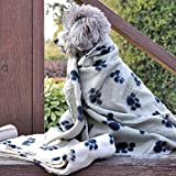 Amber(TM) Paw Print Pet Fleece Blanket Soft Bed Mat Car Seat Cover
