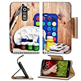 LG G2 Flip Case Paintbrushes watercolor gouache and paper are on wooden shelf IMAGE 19507948 by MSD Customized Premium Deluxe Pu Leather generation Accessories HD Wifi Luxury Protector