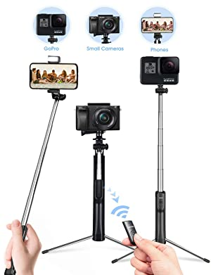 Mpow Selfie Stick Tripod, 3 in 1 Extendable Selfie Stick Monopod with Bluetooth Remote & Fill Light, Compatible with Gopro/Small Camera iPhone Xs max/XS/XR/X/8/8 plus/7/7 plus/6s,Galaxy S10/S9/8,Black (Color: Black)