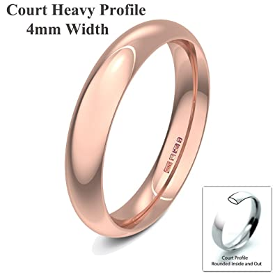 Xzara Jewellery - 9ct Rose 4mm Heavy Court Profile Hallmarked Ladies Gents 3.8 Grams Wedding Ring Band