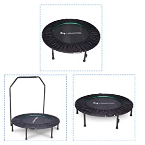 300lb Max Load Bearing Rebounder Trampoline for Indoor Yoga and Other Cardio Exercise Ludosport Foldable Rebounder 40 Mini Trampoline Rebounder,Fitness Trampoline Trainer with Handrail Outdoor