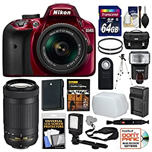 Nikon D3400 Digital SLR Camera & 18-55mm VR (Red) & 70-300mm DX AF-P Lenses + 64GB Card + Case + Flash + Video Light + Battery & Charger + Tripod Kit