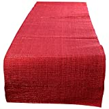 "Swadeshi Store Table Runner Woven With Red Lurex 100% Handwoven Cotton - Red (13""X60"")"