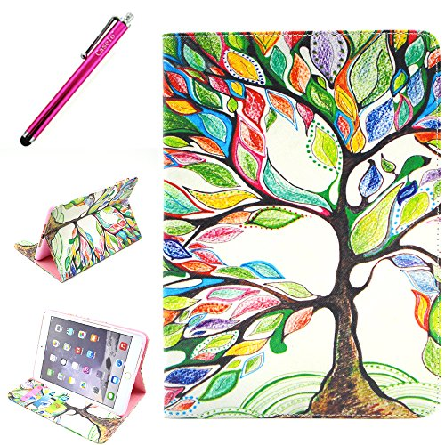 iPad Mini 3 Case, JCmax Protective Cover New Colorful Premium Flip Folio Style Foldable Side [Card Slots] [Durable Cover] [Kickstand Function] PU Leather Wallet Case Cover Smart Skin For Apple iPad Mini 3, Come with one free Stylus -[Floral Tree Pattern]