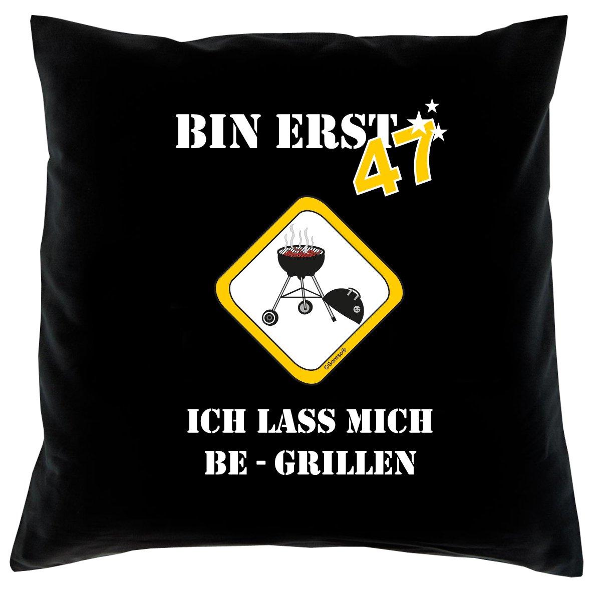 47. Geburtstag Kissen, Sitzkissen, Sofakissen, Dekokissen Bin erst 47! Farbe: Schwarz komplett mit Füllung 40x40cm Größe: 40x40cm