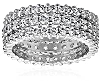 Three Sterling Silver and Simulated Diamond Stacking Eternity Bands from Amazon Curated Collection